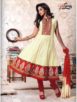 Picture of 24001 Beige and Red Chanderi Anarkali Suit
