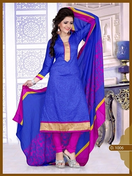 Picture of 1006 Designer Blue Chudidar Suit