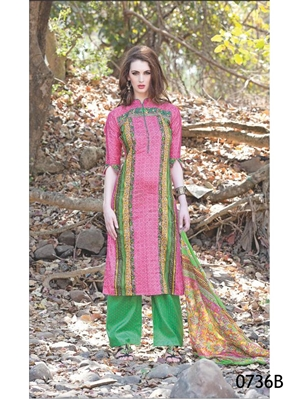 Picture of 0736B Pink and Green Satin Cotton Straight Suit