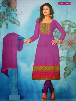 Picture of 1002 Purple and Deep Pink Georgette Anarkali Suit