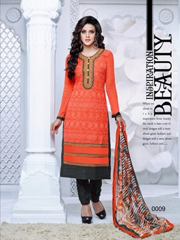 Picture of 0009 Deep Orange and Black Cambric Cotton Straight Suit