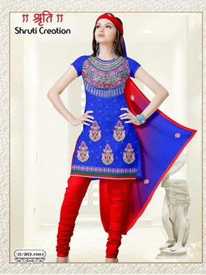 Picture of 1003 Blue and Red Georgette Jacquard Dress Material