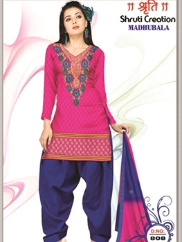 Picture of 808 Deep Pink and Midnight Blue Banarasi Jaquard Dress Material