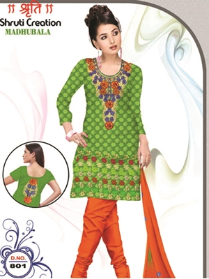 Picture of 801 Parrot Green and Orange Red Banarasi Jacquard Dress Material