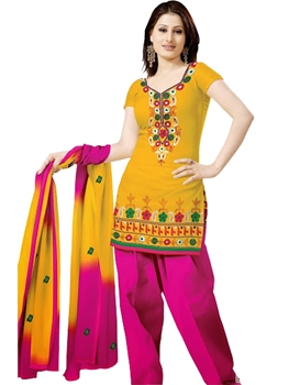 Picture of 1008 TurmericYellow and Magenta Velvet Embroidered Dress Material