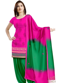 Picture of 1006 Magenta and Green Velvet Embroidered Dress Material