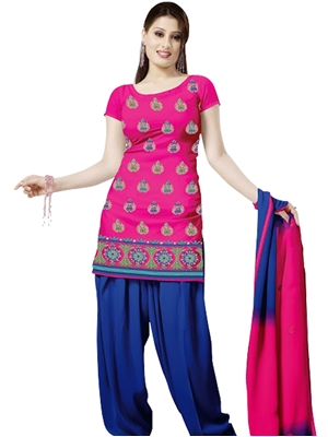 Picture of 1001 Deep Pink and Midnight Blue Velvet Embroidered Dress Material