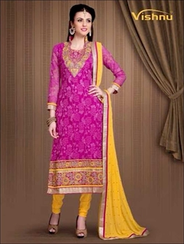 Picture of 21011DeepMagenta and TurmericYellow Rasal Net Straight Suit