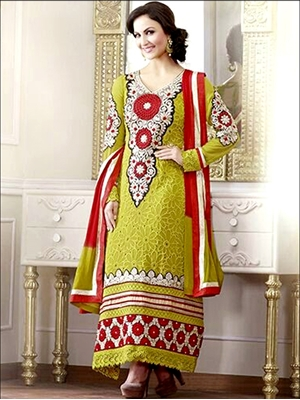Picture of 10607 YellowGreen and Red Georgette Straight Suit