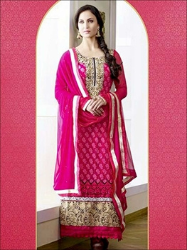Picture of 10604DeepPink and White Georgette Straight Suit
