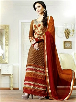 Picture of 10602Chocolaty and Maroon Georgette Straight Suit