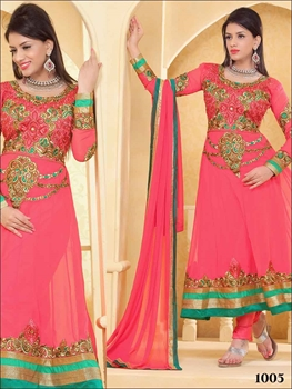 Picture of 1005 Designer Dull Pink Georgette Anarkali Suit