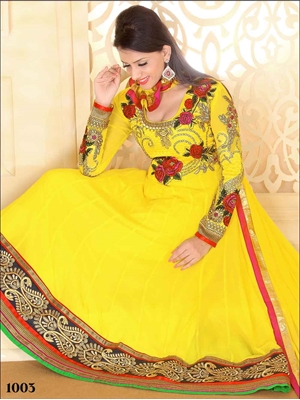 Picture of 1003 Designer Yellow Georgette Anarkali Suit