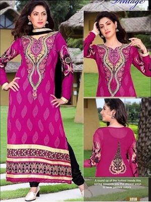 Picture of 1016Magenta and Black Georgette Straight Suit