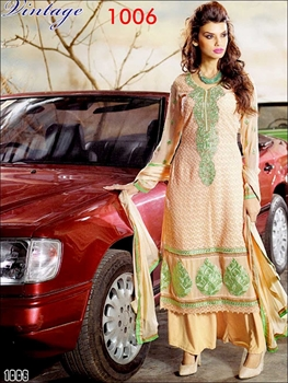 Picture of 1006NavajoWhite and LightGreen Georgette Straight Suit