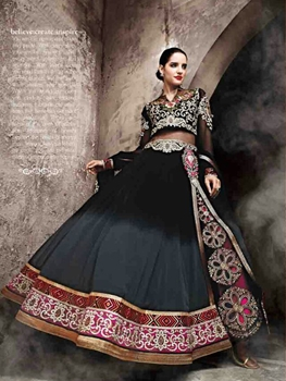 Picture of Black and DarkGray Designer Anarkali Suit