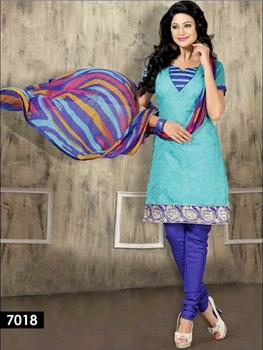Picture of 7018 Sky Blue Chudidar Suit