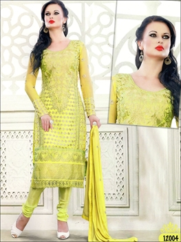 Picture of 12004LemonYellow Georgette Straight Suit