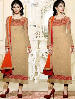 Picture of 11207SandyBrown And Orange Straight Suit