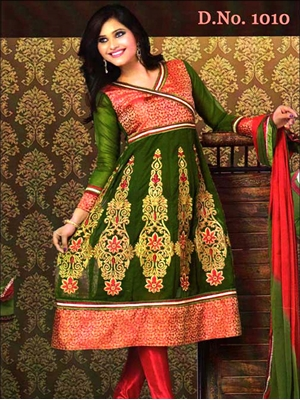 Picture of 1010 Dark Olive Green and Red Georgette Anarkali Suit