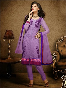 Picture of 1008MediumPurple and Indigo Georgette Straight Suit