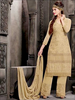 Picture of 2325TanBrown Embroidered Chiffon Straight Suit