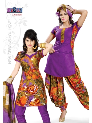 Picture of 1026Purple and Brown Designer Printed Cotton Salwar Suit