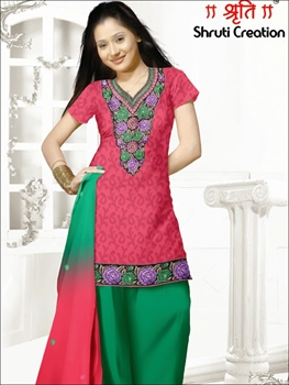 Picture of 1108Carrot Red and Green Chudidar Suit