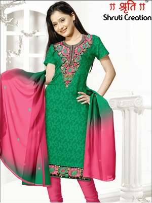 Picture of 1106Green and Carrot Pink Chudidar Suit