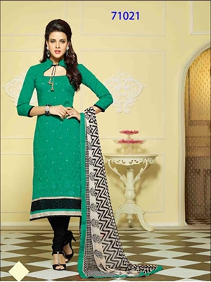 Picture of 71021DeepSeaGreen and Black Chanderi Straight Suit