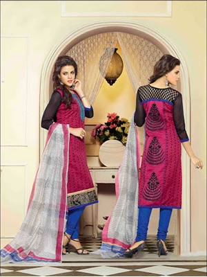 Picture of 71009Black DarkPink and RoyalBlue Chanderi Straight Suit