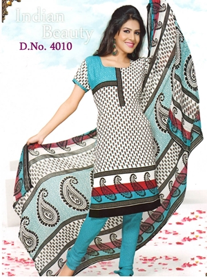 Picture of 4010White and DeepSkyBlue Synthetic Dress Material