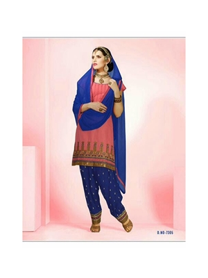 Picture of 7305CarrotPink and NavyBlue Cotton Patiyala Suit