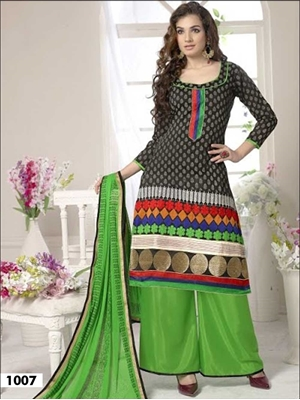 Picture of 1007 Black and Parrot Green Designer Palazzo Suit