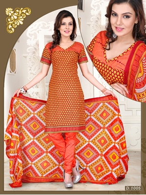 Picture of 1005Yellow and Orange Chudidar Suit