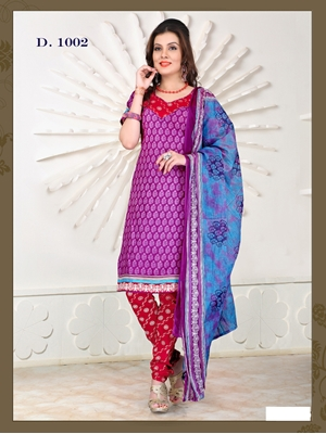 Picture of 1002Violet and Red Chudidar Suit