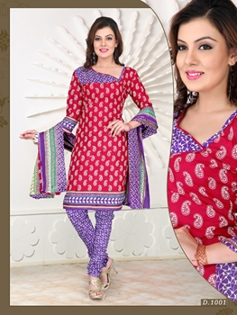 Picture of 1001Dark Pink and Purple Chudidar Suit