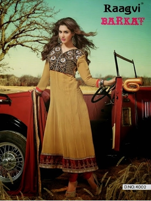 Picture of 4010 Brown and Red Designer Anarkali Suit
