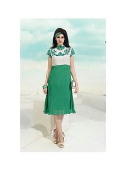 Picture of 3010Ivory and SeaGreen Georgette Embroidered Kurti