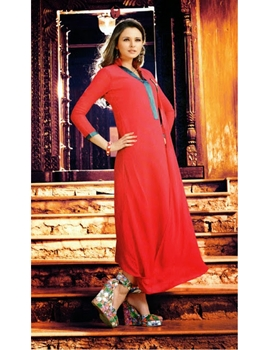 Picture of 06 Red And Green Designer Georgette Embroidered Kurti