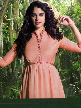 Picture of 128Peach Designer Linen Kurtis