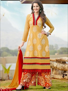 Picture of 1416 Cream and Red Plazo Suit