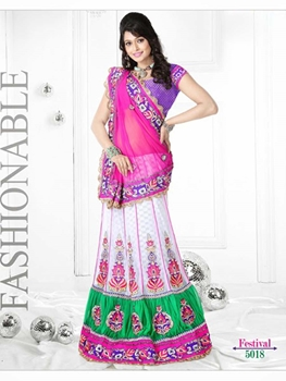 Picture of 5018Pink and White Designer Saree