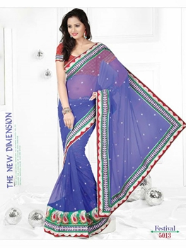 Picture of 5013Light Blue and Red Designer Saree