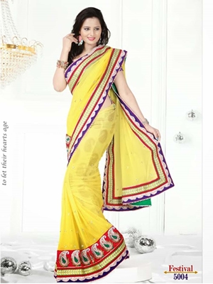 Picture of 5004Yellow and Red Designer Saree