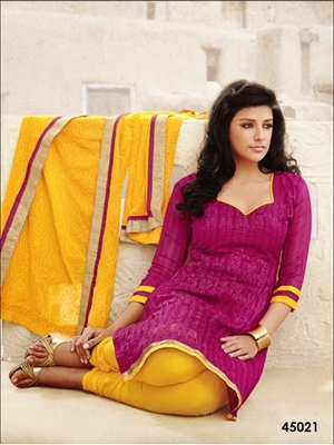 Picture of 45021 Designer Magenta Chudidar Suit