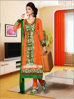 Picture of 4603Orange and Green Straight Suit