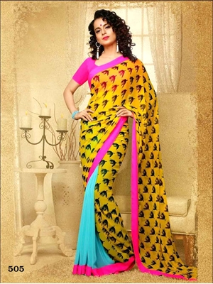 Picture of 505 Yellow and Sea Blue Designer Saree