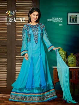 Picture of 6006Sea Blue and Golden Anarkali Suit