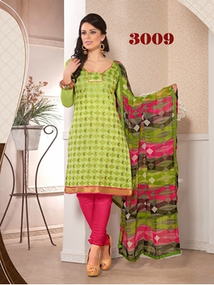 Picture of 3009 Designer Light Green Chudidar Suit